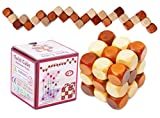 Toys of Wood Oxford Wooden Twist Cube IQ Puzzle - Wooden Brain Teaser - Brain Tteaser Puzzle for Children Teenager Adults - Mens Gift Sets-Gift Sets for Him-Gifts for Men Who Have Everything