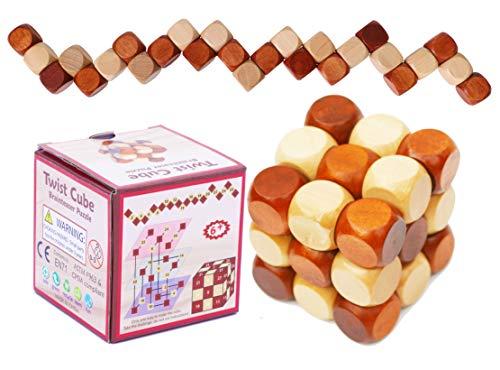 Toys of Wood Oxford TOWO Brainteasers Cubo Rompecabezas de Madera - Cubo Serpiente Madera con 27 Cuentas roscadas en una Cadena - Juego de Habilidad Madera para niños y Adultos
