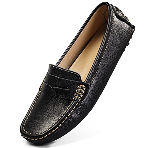 Artisure Women's Classic Handsewn Black Genuine Leather Penny Loafers Driving Moccasins Casual Boat Shoes Slip On Fashion Office Comfort Flats 6 M US SKS-1221HEI60