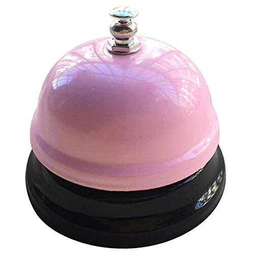 Xinlie Tischklingel Rezeptionsklingel Tischglocke Zähler Schreibtisch Glocke Bell Ring Metall Verchromte Anruf Bell mit Klarem Klang für Restaurant Küche Hotel Bars Service Haustier (Pink)