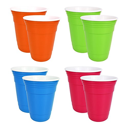 Set of 8 Reusable 16 Oz Double Walled Plastic Cups! Party Cups Without All The Waste! Durable! BPA FREE & Dishwasher Safe! Reusable Drinking Cups Perfect for Parties and Home Use!
