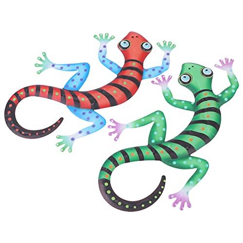 DOITOOL 2Pcs Animais Esculturas De Parede Gecko Do Metal Arte Da Parede Decoração Da Parede De Inspiração 3D Parede Decorações de Suspensão Ao Ar Livre Cerca de Arte para Interior Varanda