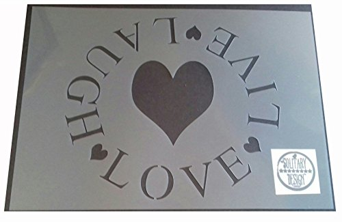Shabby Chic Schablone Live Laugh Love Herz/Kreis rustikal Vintage A4297x 210mm Wand Möbel Art