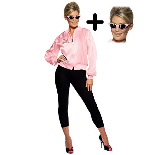 Pink Ladies Official Licensed Grease Jacket + Sunglasses S (UK: 8-10)