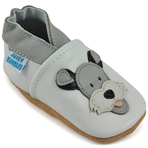 Juicy Bumbles - Weicher Leder Lauflernschuhe Krabbelschuhe Babyhausschuhe mit Wildledersohlen. Junge Mädchen Kleinkind- Gr. 12-18 Monate (Größe 22/23)- Duky Hund