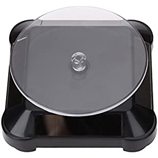 Amazingdeal365 Solar Powered Showcase 360 Turntable Rotating Jewelry Watch Mobile Phones Ring Display Stand (Black)