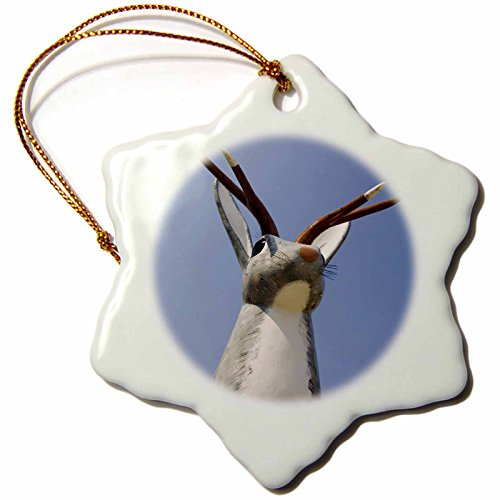 3dRose orn_97593_1 Douglas, Wyoming, Centennial Jackalope Square-US51 SSM0059-Scott T. Smith-Snowflake Ornament, Porcelain, 3-Inch
