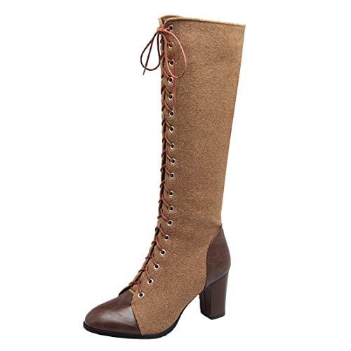 MISSUIT Damen Kniehohe Stiefel mit Blockabsatz High Heels Stiefel Kniehoch Langschaftstiefel Schnürung Reißverschluss Schuhe(Braun,40)
