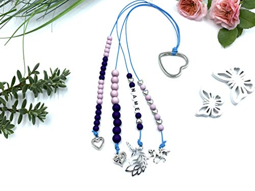 Rechenkette Mädchen, Rechenkette fliederrosa lila, Geschenk Schulanfang ABC Name