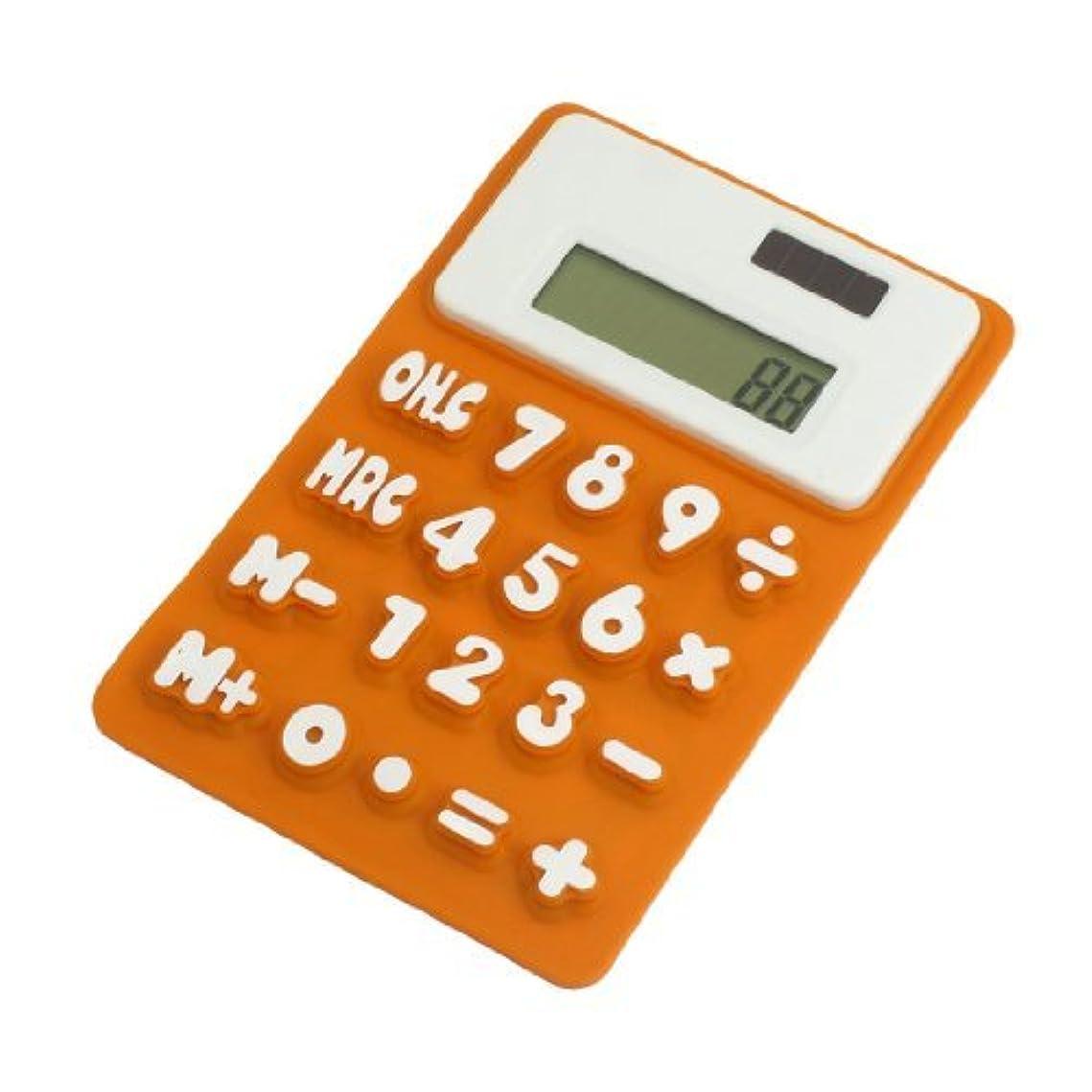 ゴールデンうるさい厚くするDealMuxシリコーン磁気冷蔵庫ステッカー8桁電卓、ダークオレンジ/ホワイト