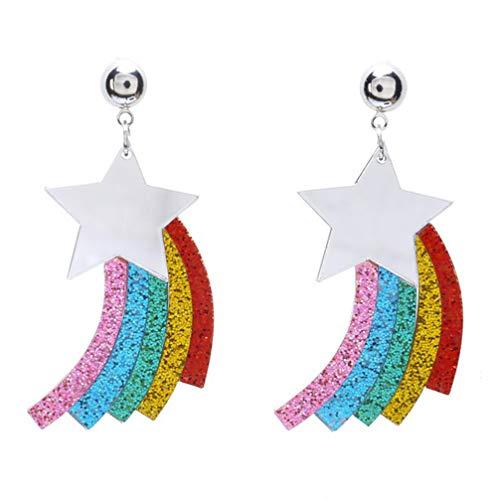 NUOBESTY Tropfenohrringe Regenbogenstern baumeln Ohranhänger Schmuckdekor für Mädchenfrauen