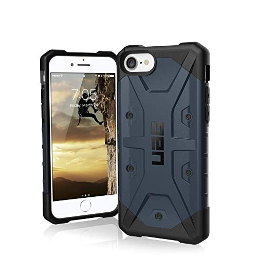 Urban Armor Gear Pathfinder Hülle Apple iPhone SE (2020) / 8/7 / 6S Schutzhülle (Wireless Charging kompatibles Cover, Sturzfeste Handyhülle, Ultra Slim Bumper) - blau (Mallard)