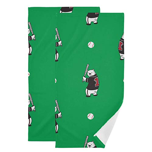 Juego de 2 Toallas de baño de Secado rápido Oso Oso Polar Icono de béisbol Doodle Toalla de Yoga Toalla de Entrenamiento Absorbente Suave de Secado rápido Adecuado para baño Cocina Aseo Playa