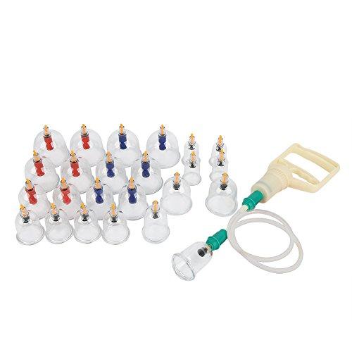 Ensemble de ventouses chinoises 24pcs en forme de u message d'aspiration sous vide ensemble avec poignée de pompage acupuncture d'aspiration domestique traditionnelle