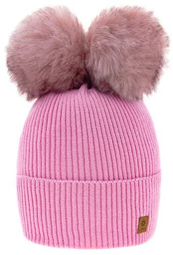 4sold Rita Kinder Wurm Winter Style Beanie Strickmütze Mütze mit Fellbommel Bommelmütze HAT SKI Snowboard (MEGI Pink)