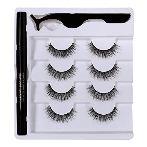 Natural Eyelashes and Magic Eyeliner, Lanflower Extra Soft Lashes with Waterproof Liquid Eyeliner Kit 4 Pairs Glue Free