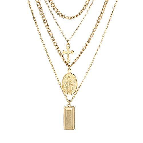 KnSam Joyas Collar de Collar de 4 Capas con Forma de Cruz de La Virgen María Collar de Múltiples Capas de Chapado en Oro Colgantes para Bodas Joyeria Collar Oro 46CM