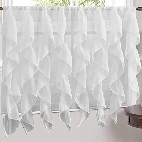 """Sweet Home Collection Veritcal Kitchen Curtain Sheer Cascading Ruffle Waterfall Window Treatment - Choice of Valance, 24"""" or 36"""" Teir, and Kit, Tier Pair Only, White"""