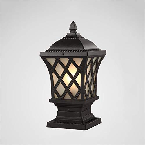 WPCBAA zwart koper aluminium kolom schijnwerper buiten E27 lamp landschap verlichting vintage retro waterdichte lamp voor tuin paallamp