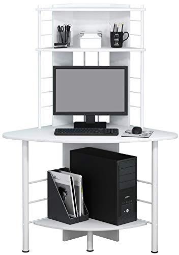 SixBros. Schreibtisch in weiß, eckiger Bürotisch für Büro & Home Office, Eckschreibtisch, 113 x 65 cm B-1010/2076