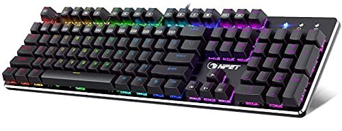 NPET K20 Gaming Keyboard, RGB LED Backlit Mechanical Gaming...
