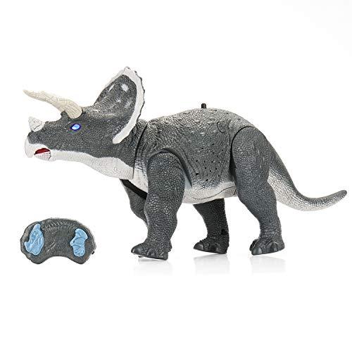 SainSmart Jr. Ferngesteuerte Dinosaurier Drache Spielzeug mit Febedienung, 2 in 1 Electronische Dino mit Sounds und leuchten Augen für Kinder