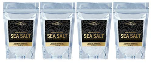 FREZZOR Mineral-Rich Flaky SEA Salt, 4-Pack, Premium Gourmet, Unprocessed Kosher Flakes, 84 Minerals & Trace Elements, 100% All-Natural, New Zealand Solar & Wind Harvested, Lab Certified, 29.6 Ounces