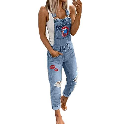 Godoboo Damen Latzhosen Denim Jumpsuit Slim Jeanslatzhose Overall Jumpsuit Playsuit Jeans Hosenanzug Damen Jeanslatzhose