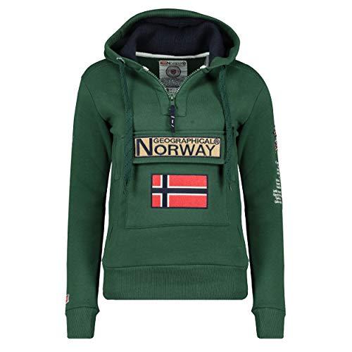 Geographical Norway GYMCLASS LADY - Felpa Con Cappuccio E Tasche Da Donna Kangaroo - Felpa Logo Donna - Maniche Lunghe Comfort - Felpa Cappuccio Cotone Sportivo VERDE SCURO M - TAGLIA 2