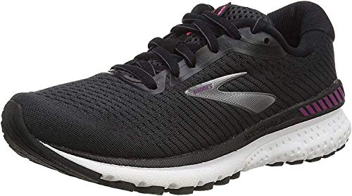Brooks Womens Adrenaline GTS 20 Running Shoe, Black/White/Hollyhock, 41 EU
