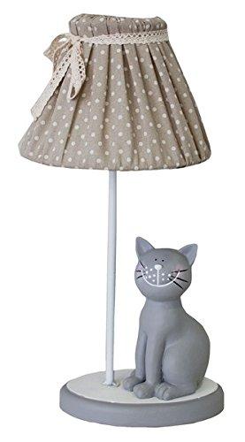 Keyhome Lámpara de mesa de madera estilo rústico shabby diseño provenzal lámpara de mesita de noche gato con pantalla tela beige