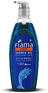 Fiama Shower Gel - Refreshing Pulse For Men, with sea minerals, Face, body and Hair application, 500 ml