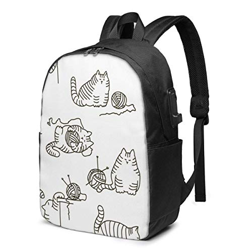 XCNGG Cat and Yarn Ball Travel Laptop Backpack College School Bag Casual Daypack with USB Charging Port