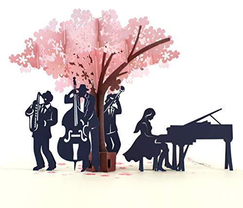 MOKIO® Pop-Up Karte – Jazz-Konzert unter blühendem Baum – 3D Geschenkkarte zum Geburtstag oder zur Hochzeit, Jubiläum, Jahrestag, Pensionierung, für Frauen & Männer