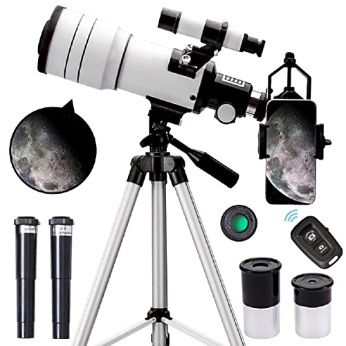 ToyerBee Telescope for Adults & Kids, 70mm Aperture Astronomical Refractor Telescopes for Astronomy Beginners (15X-150X), 300mm Portable Telescope with an Phone Adapter & A Wireless Remote