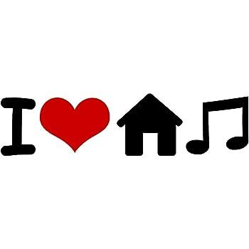 1.5W x 5.5L i Love House Music STICKERS Heart DECAL VINYL BUMPER CARS Mix Club DJ edm edc Graphic Wall Locker Notebook Laptop