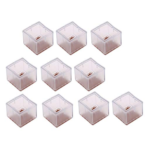 Baoblaze 10x Square Leg 48-55mm Silicone Leg Protectors for Table Chairs