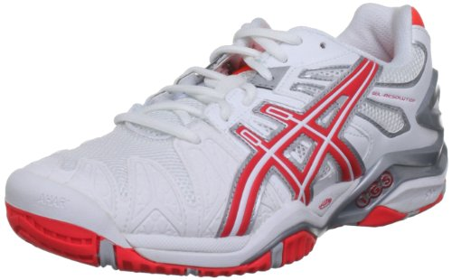 ASICS Damen Performance Gel-Resolution 5 Tennisschuhe, weiß/Silber/orange, 39 EU