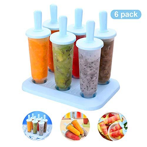 PECHTY Eisformen, 6 Eisförmchen Popsicle Formen Set DIY Hausgemachte Kreative Eisformen, LFGB Geprüft und BPA Frei (Blau)