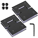 ZOENHOU 2 Packs 180 Degree Black Glass Door Hinges, Stainless Steel 4mm Thick Shower Door Hinges, Cupboard Clamp with Mounting Hardware for Opening & Closing of Showcase Bathroom Cabinet