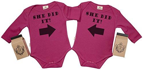 SR - Estuche de presentación - She Did It & She Did It Body Gemelos bebé - Ropa para Gemelos bebé...