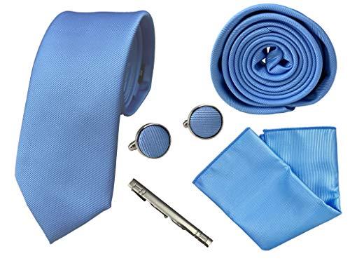 BUNCHERY & SONS Krawatte Set mit Einstecktuch, Klammer und Maschettenknöpfe in edler Geschenkbox blau hellblau himmelblau kristallblau Business Muster blauekrawatte