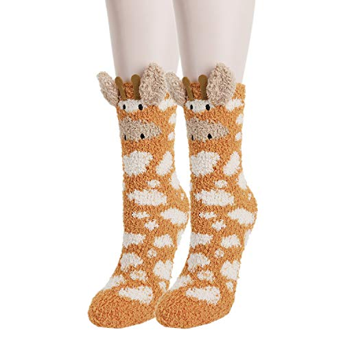 Girls Womens Funny Fuzzy Slipper Socks Cute 3D Cartoon Animals Soft Fluffy Novelty Home Sleeping Socks Gift - - Medium