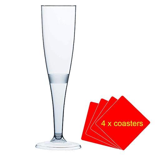 50 x Champagne fluiten gemaakt van hoogwaardige kunststof 160 ml (6oz). Ideaal voor picknicks, kamperen en glampen, festivals, buitenbad, barbecues (bbq), tuin en speciale gelegenheden. Aanbieding Pack van 50 glazen met 4 x AIOS drinkmatten