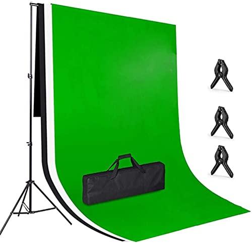 Sistema di Soporte Fondo Fotografico, 2x3m Fondo Blanco Negro Verde, con Soporte Ajustable 3x2m, 3 Abrazaderas y Bolsa de Transporte para Estudio Fotográfico e Iluminación, Video y Fotografía