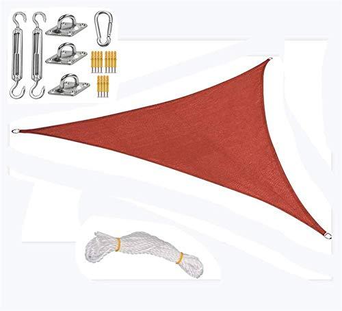 BGSFF Vela Triangular para sombrilla, Tela Oxford, Resistente al Agua y Bloqueador UV para Patio al Aire Libre, Patio Trasero, jardín de Arena, Rojo, 4.5x4.5x4.5M