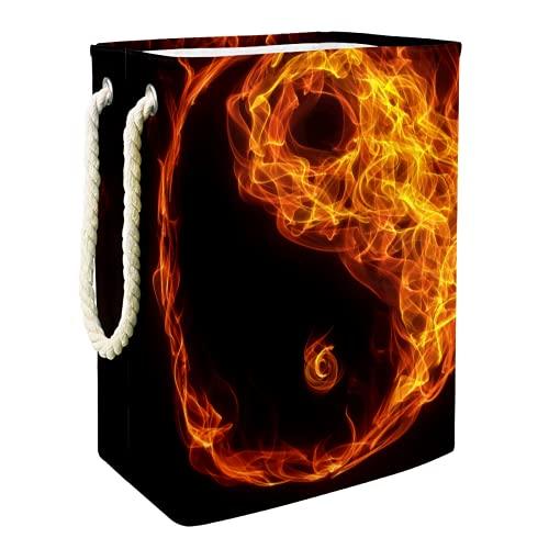 EZIOLY Cesta para la colada de fuego chino Yin Yang abstracto plegable con asas soportes desmontables, resistente al agua para la ropa, juguetes, organización en la sala de lavandería, dormitorio