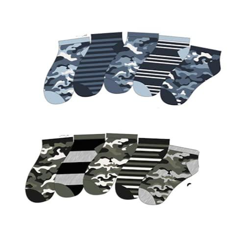 Lieblingsstrumpf24 10er Pack Kinder Sneaker Socken Füsslinge Baumwolle Monster Bagger Auto Öko-Tex Standart 100 (Camouflage mix 35-38)