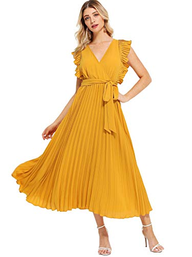 Milumia Women Ruffle Trim Wrap V Neck High Waist Fit and Flare Belted Pleated Maxi Dress