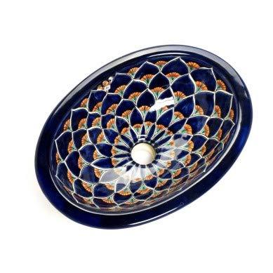Destina - Kleines buntes Waschbecken, Mexikanische Oval Einbauwaschbecken   Klein Keramik Talavera Waschbecken aus Mexiko   Ideal fur Badezimmer, wc, Gästebadezimmer